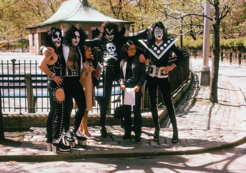 Kiss with their fans in Central Park in the early 1970s
