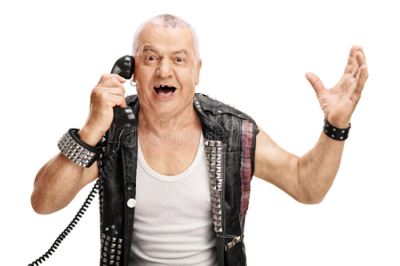 Joyful-mature-punk-talking-telephone-man-old-jacket-gesturing-his-hands-isolated-white-background-70136489
