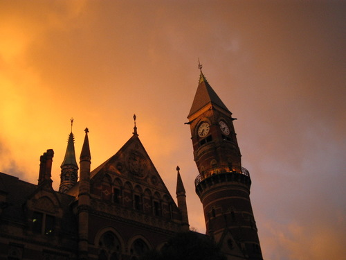 Jefferson Library under Fiery Skies